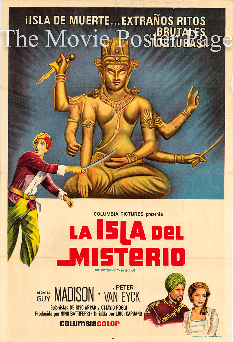 Pictured is an Argentine one-sheet poster for the 1964 Luigi Capuano film The Kidnapped to Mystery Island starring Guy Madison.