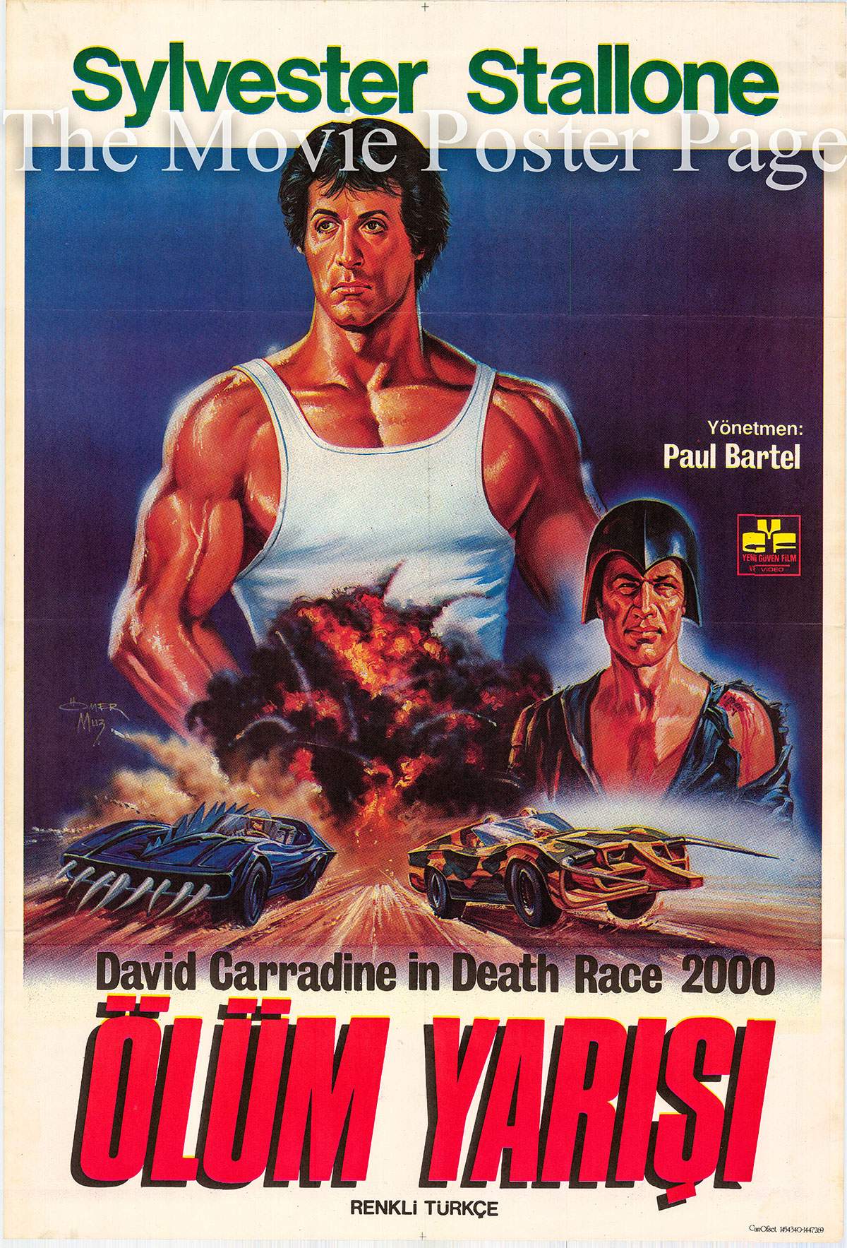 Pictured is a Turkish one-sheet promotional poster for the 1975 Paul Bartel film Death Race 2000 starring David Carradine.