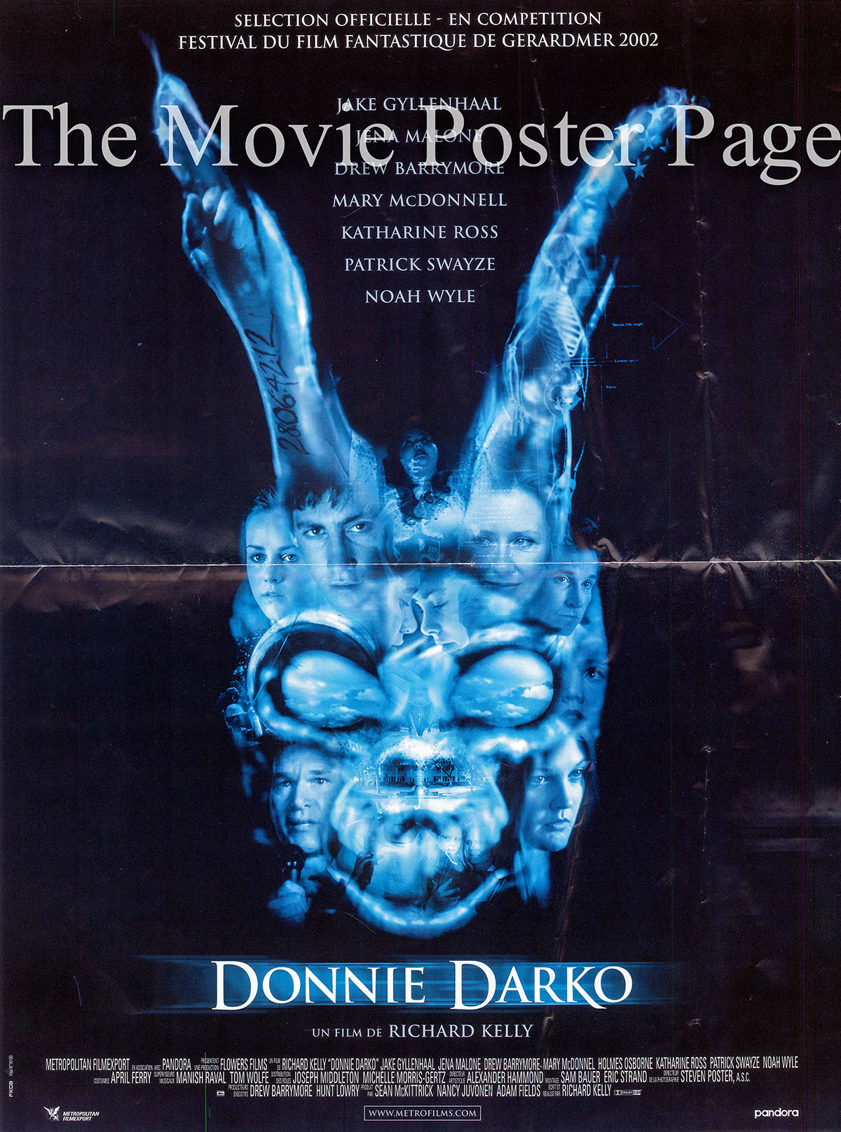 Pictured is a 15x21 French poster for the 2001 Richard Kelly film Donnie Darko starring Jake Gyllenhaal as Donnie Darko.