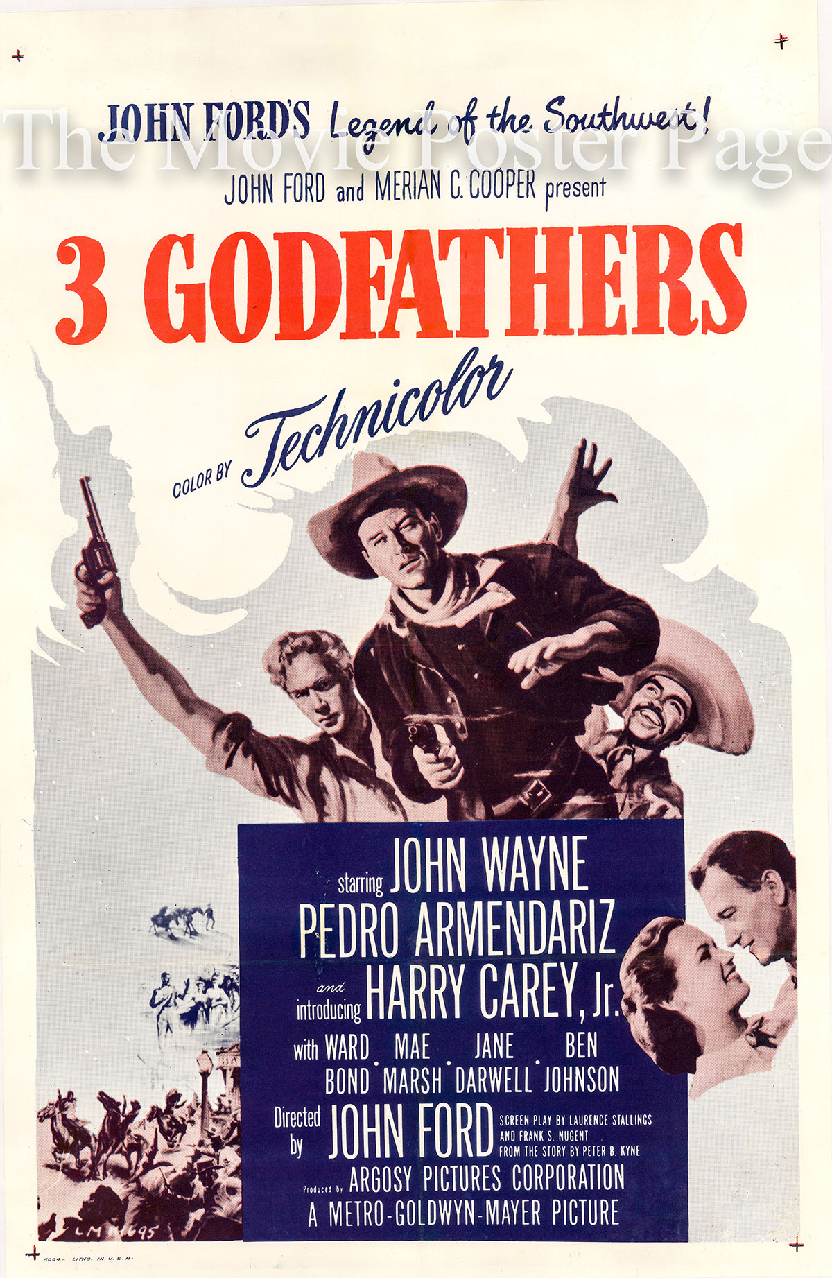 Pictured is a 1950 rerelease poster for the 1948 John Ford film 3 Godfathers starring John Wayne as Robert Marmaduke Hightower.