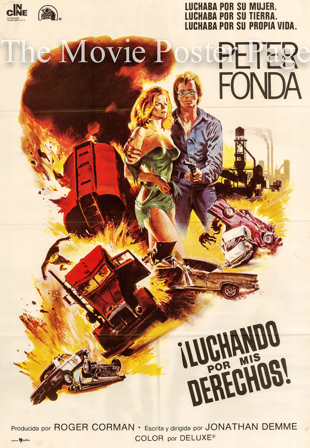 Pictured is a Spanish one-sheet poster for the 1976 Jonathan Demme film Fighting Mad starring Peter Fonda.
