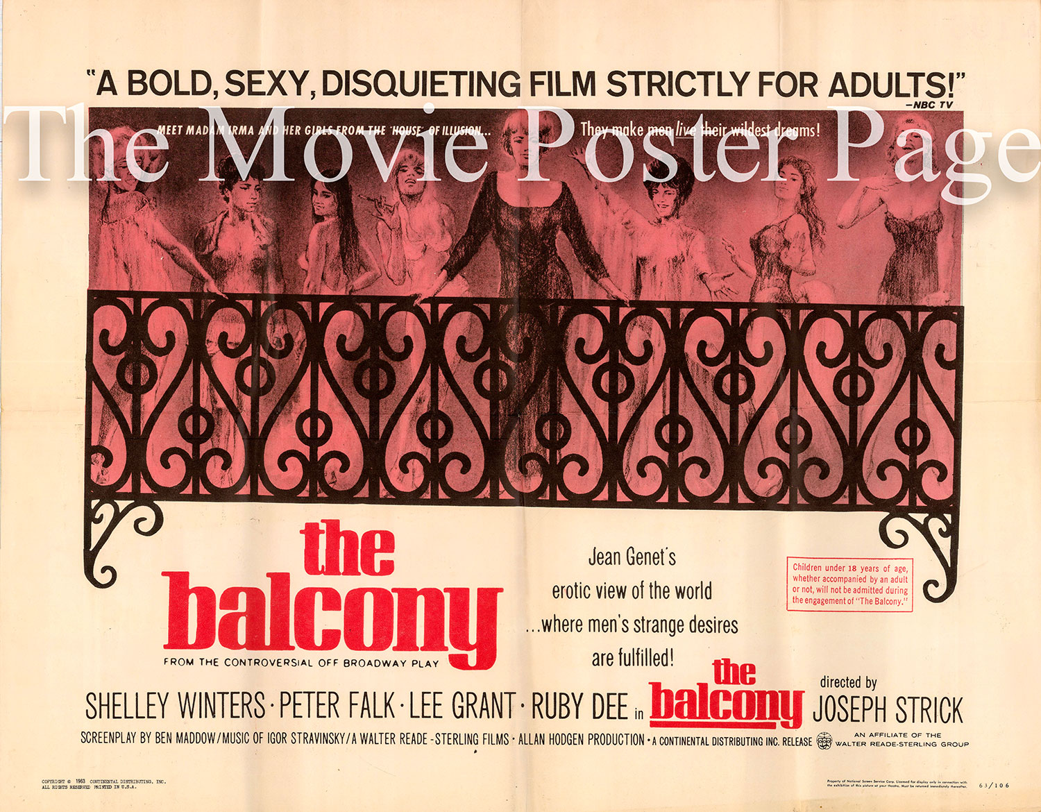Pictured is a US half-sheet poster for the 1963 Joseph Strick film The Balconly starring Shelley Winters.