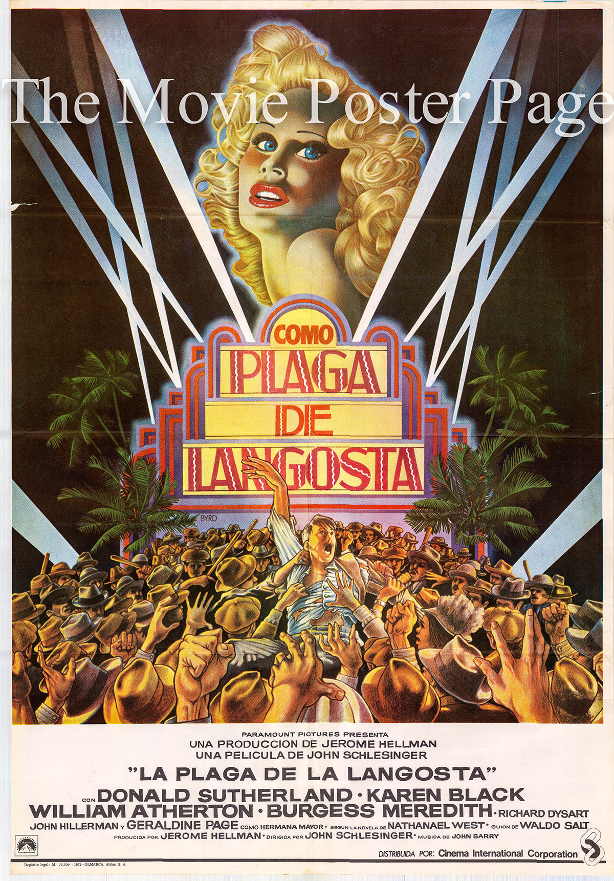 Pictured is a Spanish one-sheet poster for the 1975 John Schlesinger film The Day of the Locust starring Donald Sutherland.