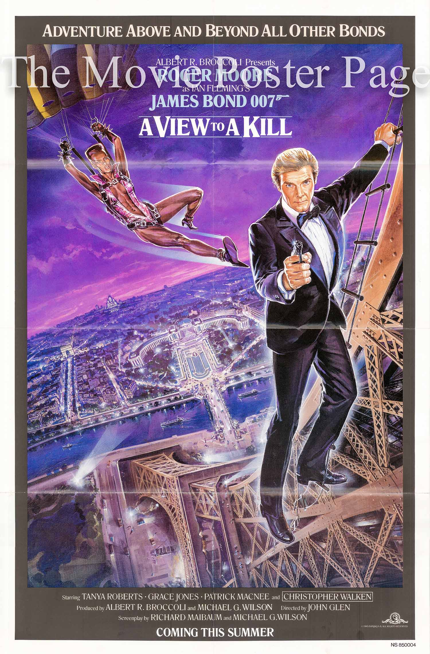 Pictured is a US Eiffel Tower advance one-sheet for the 1985 John Glen film A View to a Kill starring Roger Moore as James Bond.