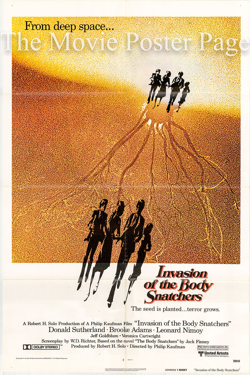 Pictured is a US advance one-sheet poster for the 1978 Philip Kaufman film Invasion of the Body Snatchers starring Leonard Nimoy.