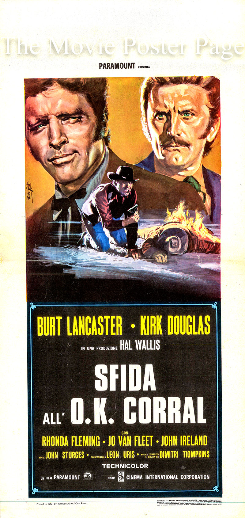 Pictured is an Italian locandina poster for a 1975 rerelease of the 1957 John Sturges film Gunfight at the OK Corral starring Burt Lancaster as Wyatt Earp.
