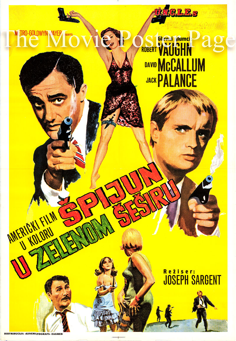 Pictured is a Yugoslavian poster for a 1970s rerelease of the 19656 Joseph Sargent film The Man from U.N.C.L.E. starring Robert Vaughn as Napoleon Solo.
