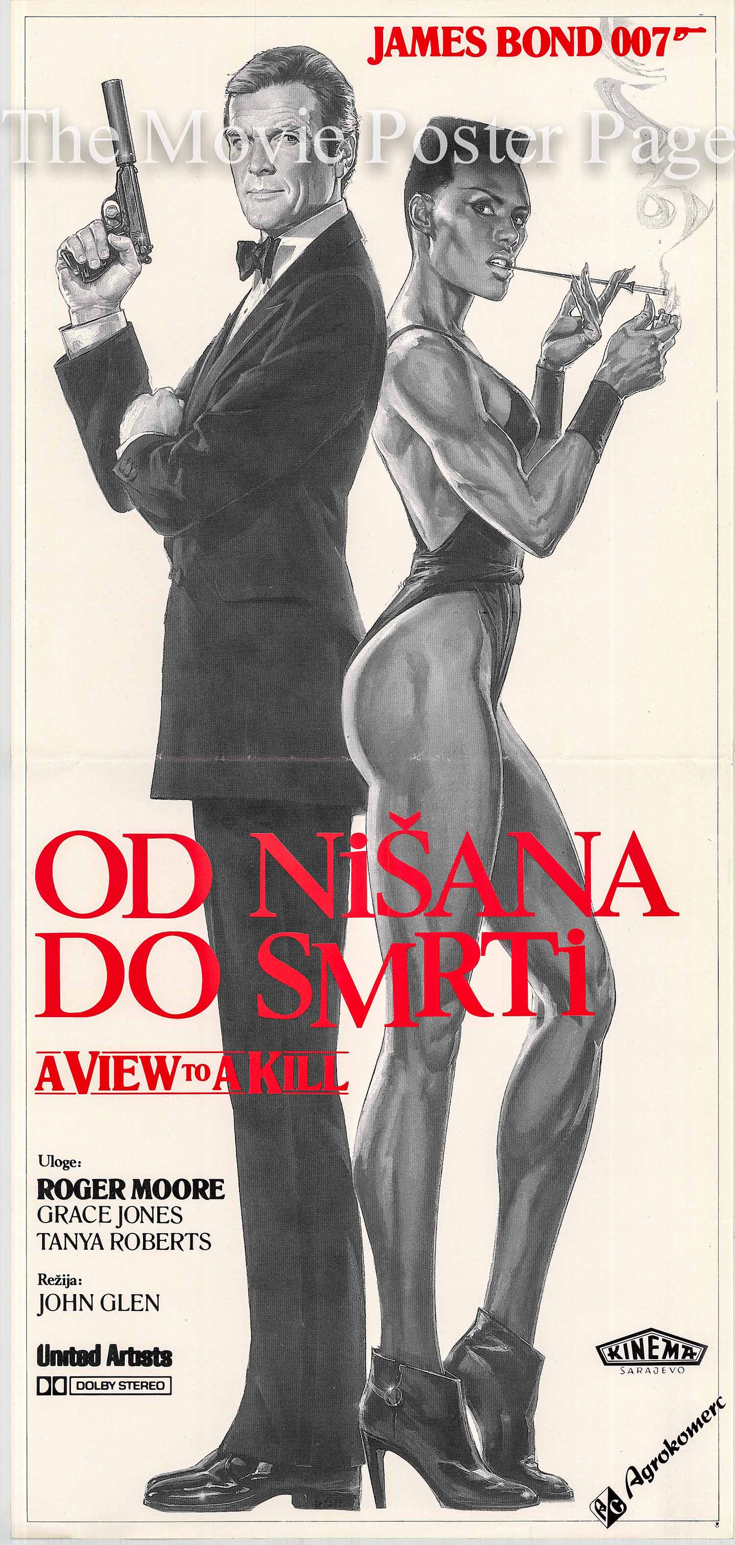 This is a Yugoslavian insert poster made to promote the 1985 John Glen film A View to a Kill starring Roger Moore as James Bond.