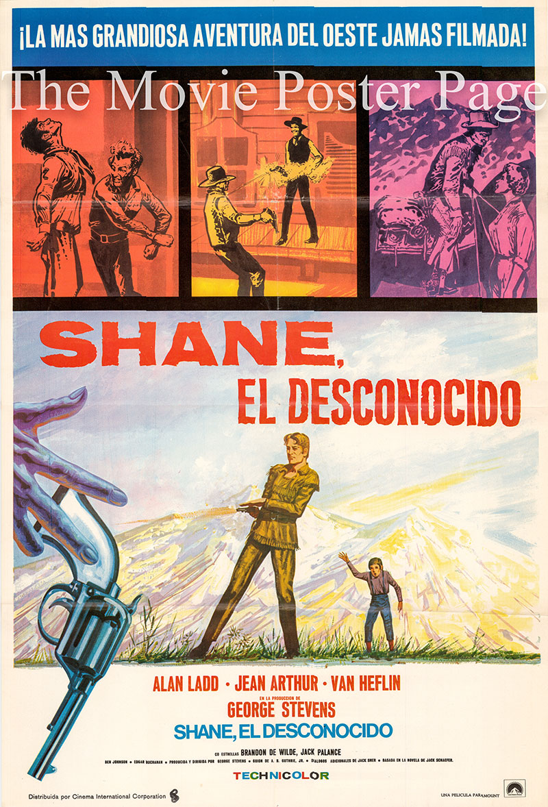 Pictured is a US-made Spanish one-sheet poster for the 1953 George Stevens film Shane starring Alan Ladd as Shane.
