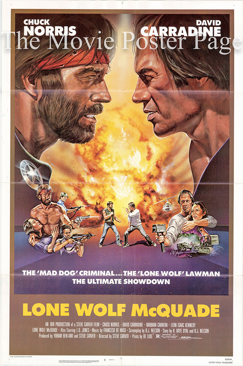 Pictured is a US one-sheet for the 1982 Steve Carver film starring Chuck Norris.