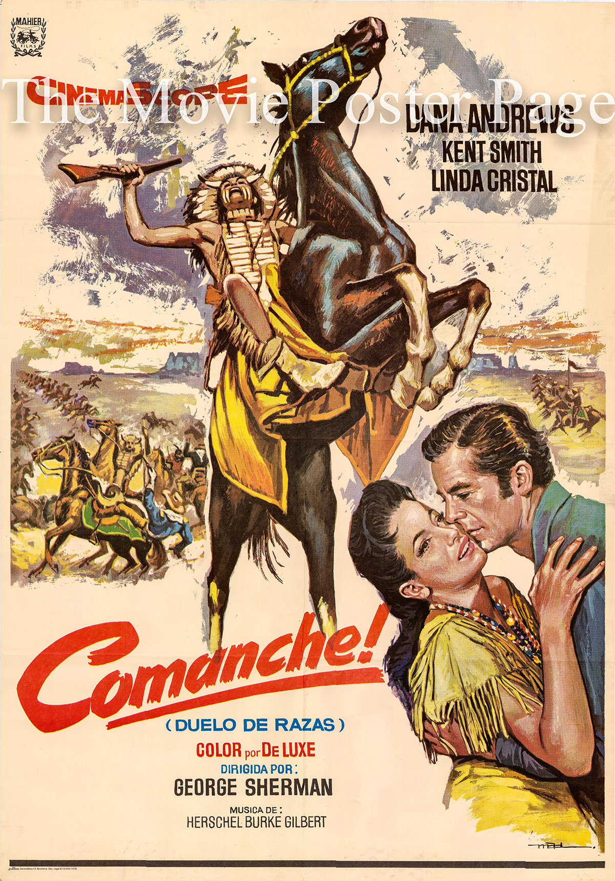 Pictured is a Spanish promotional poster for the 1956 George Sherman film Commanche starring Dana Andrews.