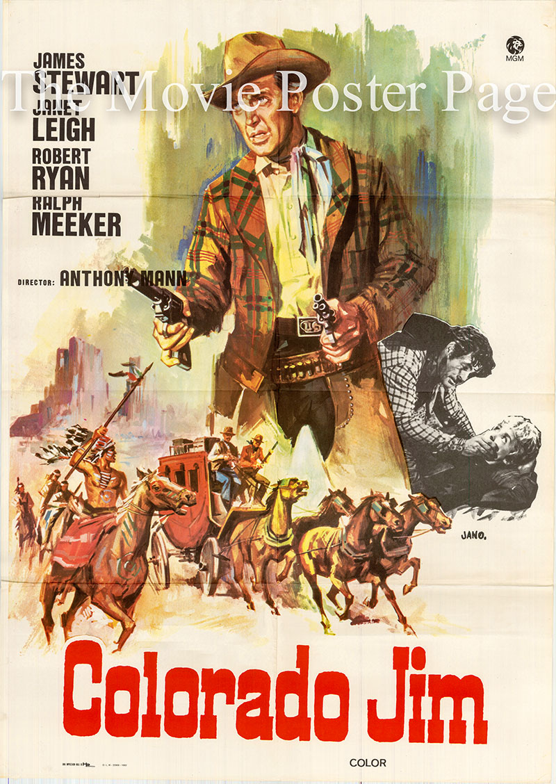 Pictured is a Spanish one-sheet poster for a 1982 rerelease of the 1953 Anthony Mann film Naked Spur starring James Stewart.