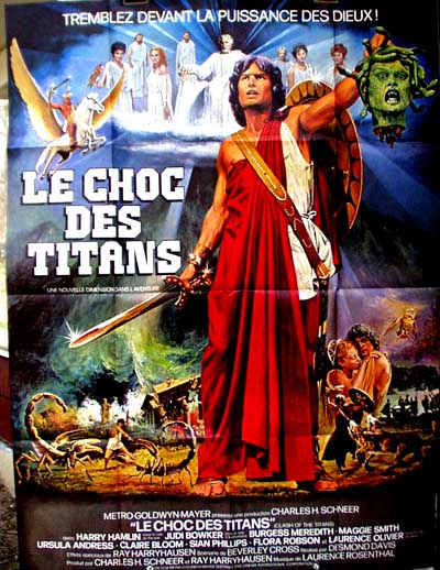 Pictured is a French grande promotional poster for the 1981 Desmond Davis film Clash of the Titans starring Harry Hamlin with Ray Harryhausen special effects.
