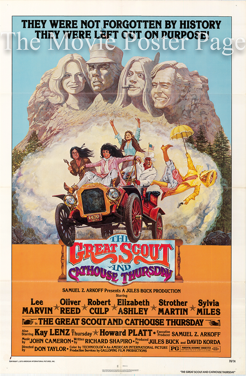 Pictured is a US one-sheet poster for the 1976 Don Taylor film The Great Scout and Cathouse Thursday starring Lee Marvin as Sam Longwood.