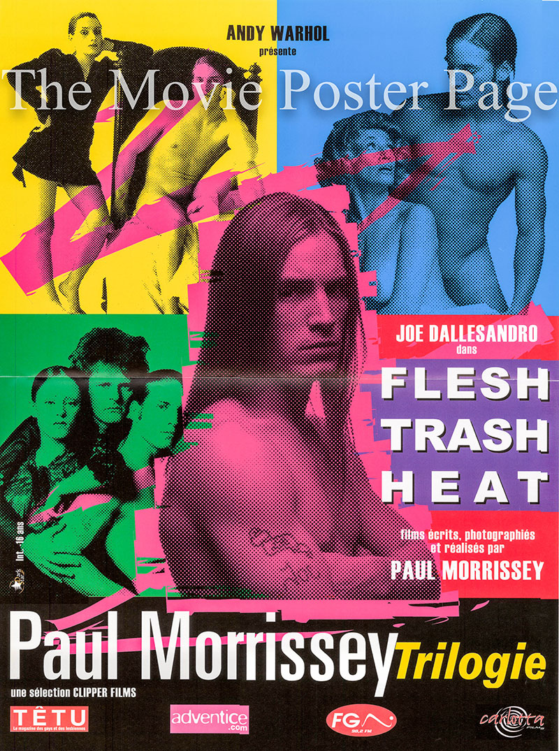 Pictured is a French mini poster for a combination exhibition of the Paul Morrissey films Flesh, Trash and Heat.