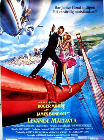 Pictured is a Swedish promotional poster for the 1985 John Glen film A View to a Kill starring Roger Moore.