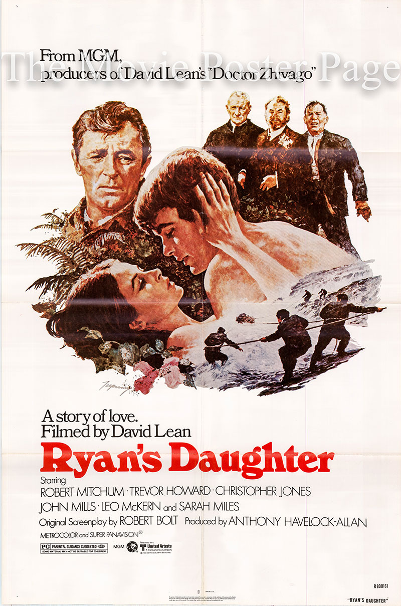 pictured is a US one-sheet poster for a 1980 rerelease of the 1970 David Lean film Ryan's Daughter starring Robert Mitchum.