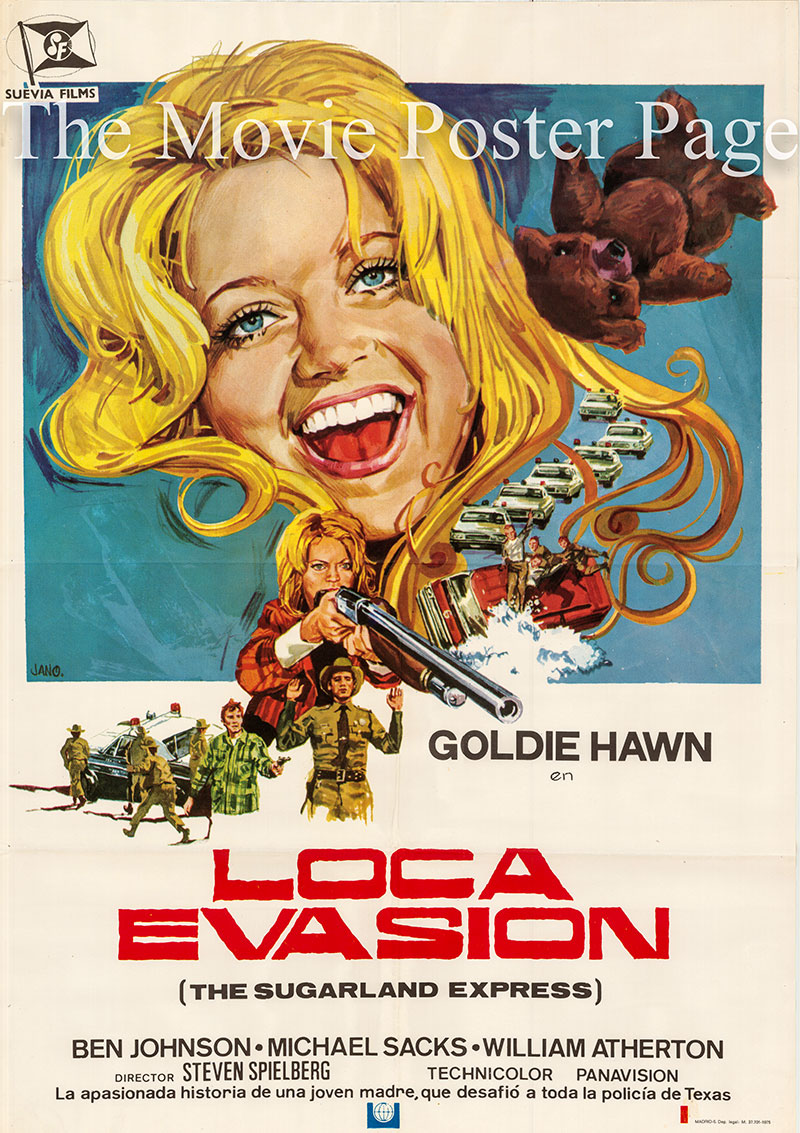 Pictured is a Spanish one-sheet poster made to promote a 1975 rerelease of the 1974 Steven Spielberg film The Sugarland Express starring Goldie Hawn as Lou Jean Sparrow Poplin.