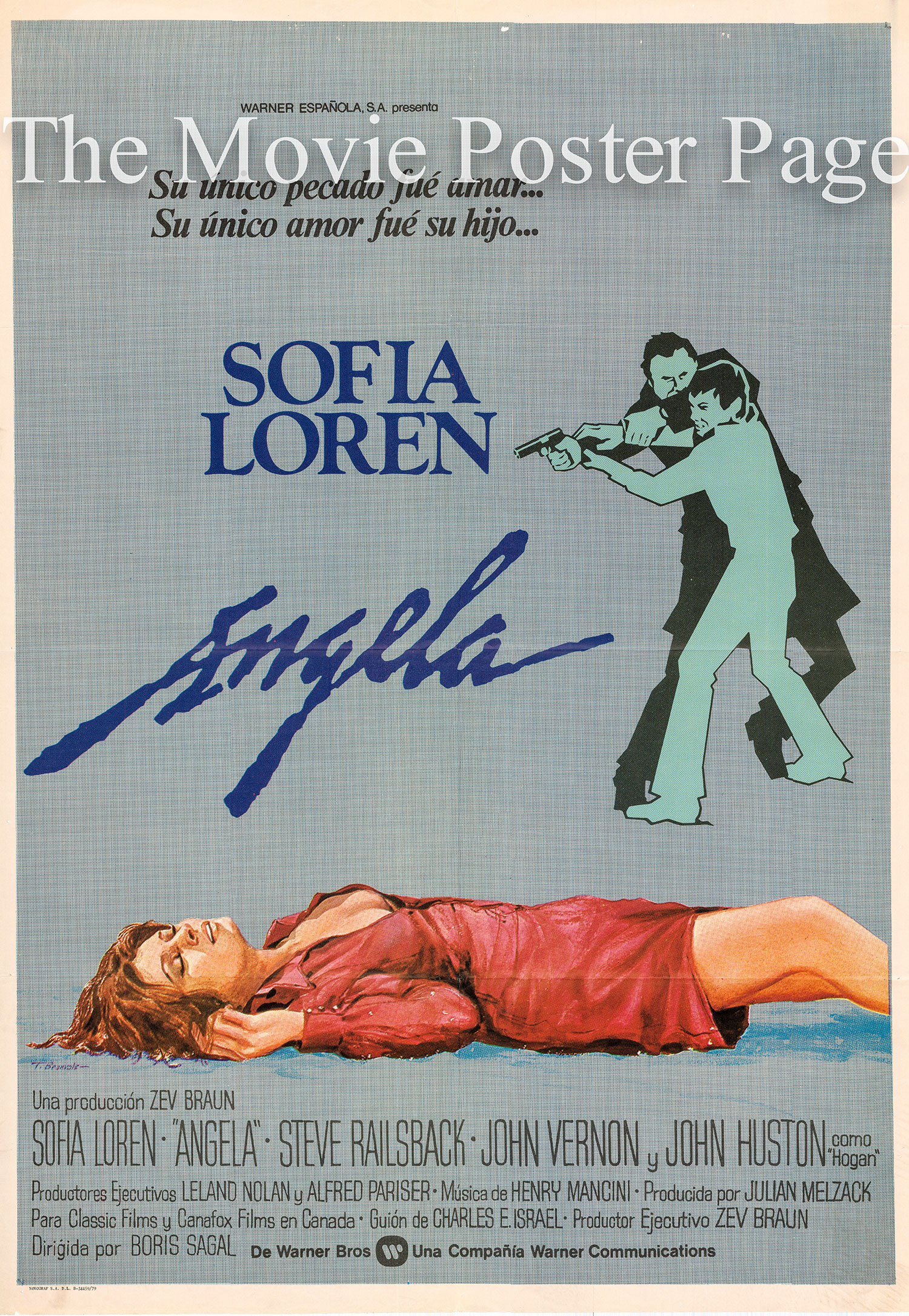 Pictured is a Spanish promotional poster to promote the 1978 Boris Sagal film Angela starring Sophia Loren.
