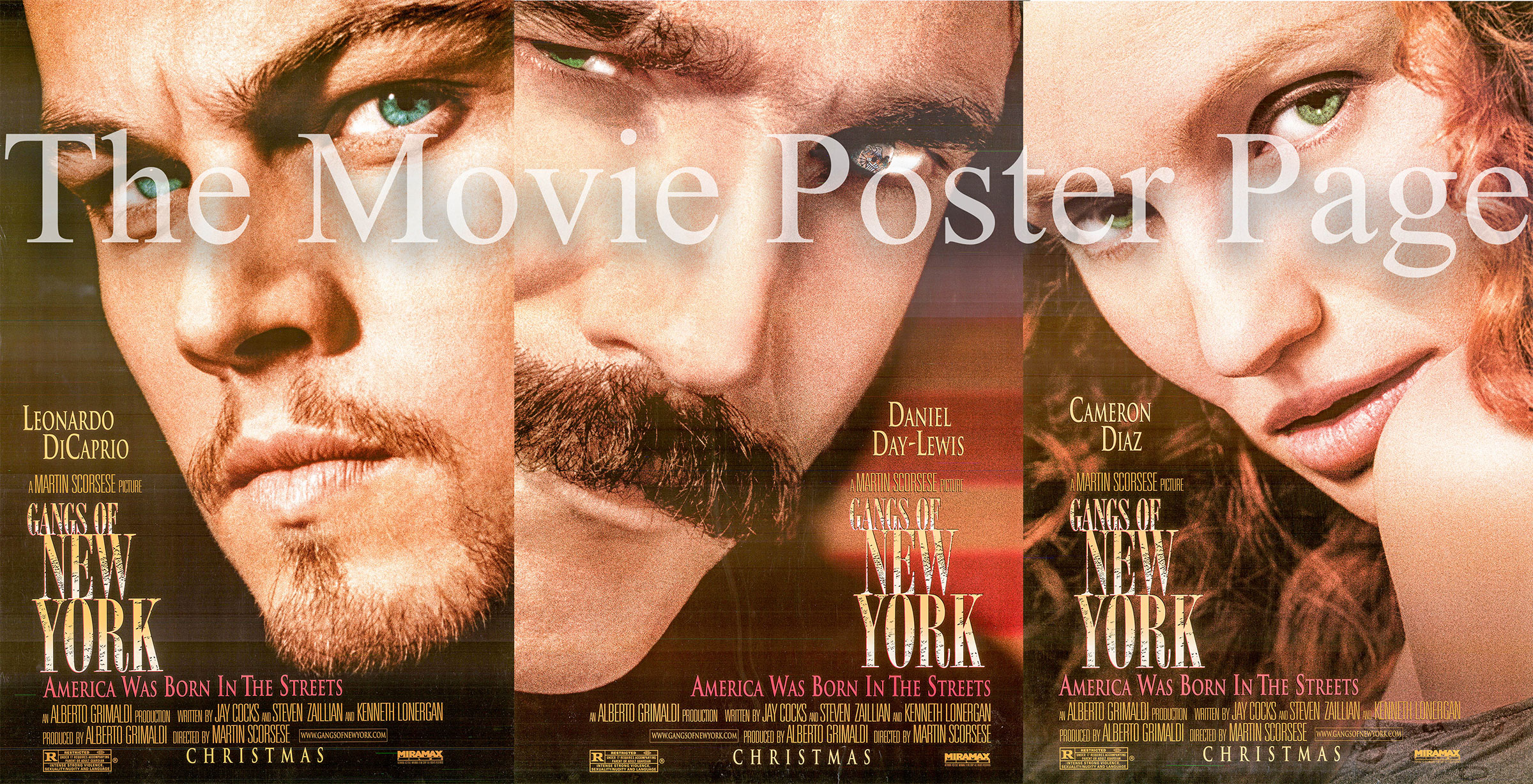 Pictured is a three poster advance set for the 2002 Martin Scorcese film The Gangs of New York.