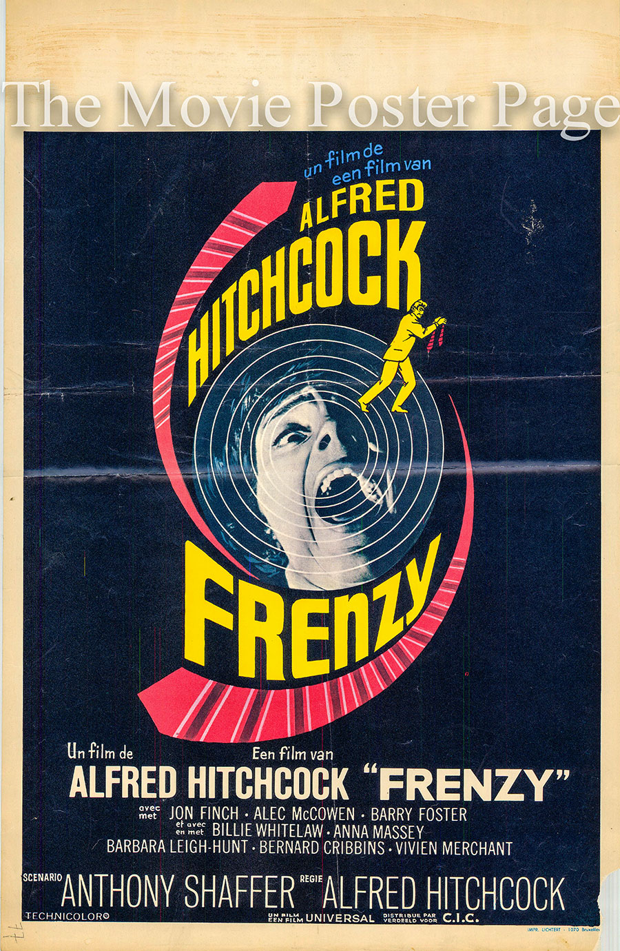 Pictured is a Belgian poster for the 1972 Alfred Hitchcock film Frenzy starring Jon Finch as Richard Ian Blaney.