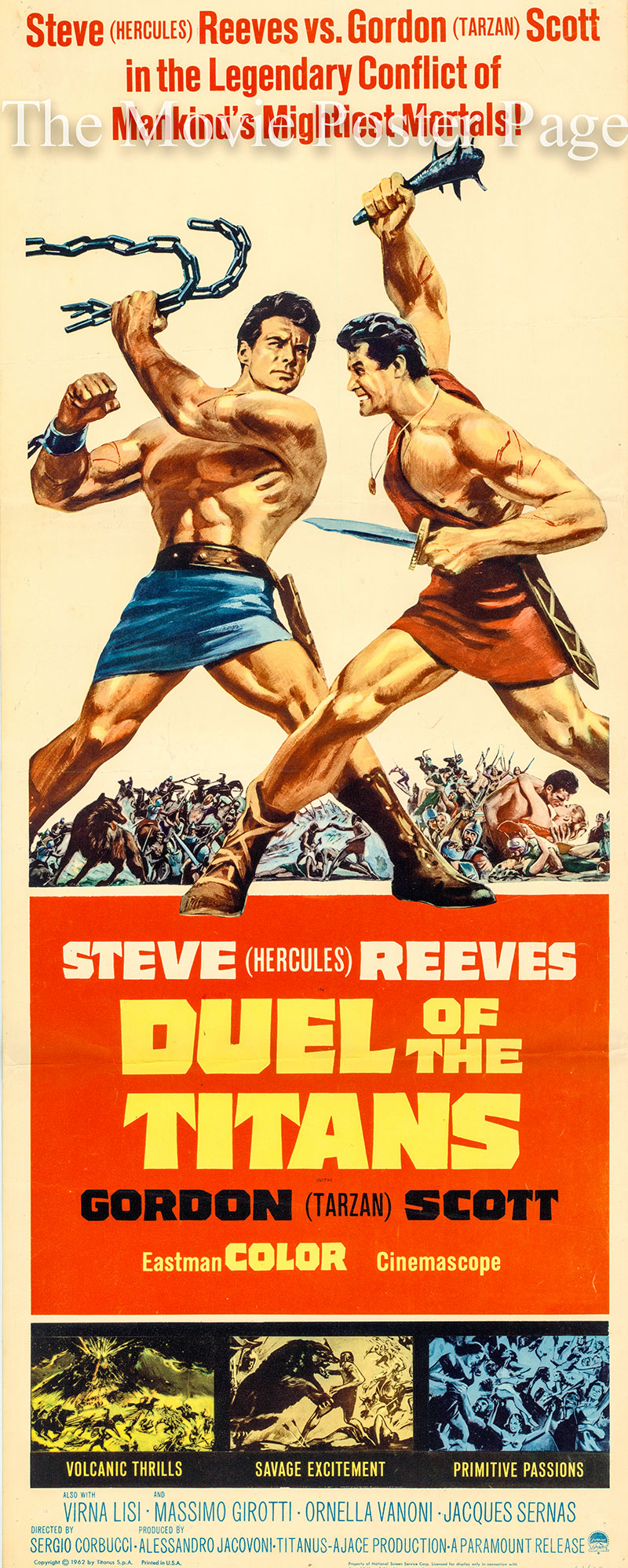 Pictured is a US insert poster for the 1963 Sergio Corbucci film Duel of the Titans starring Steve Reeves and Gordon Scott.