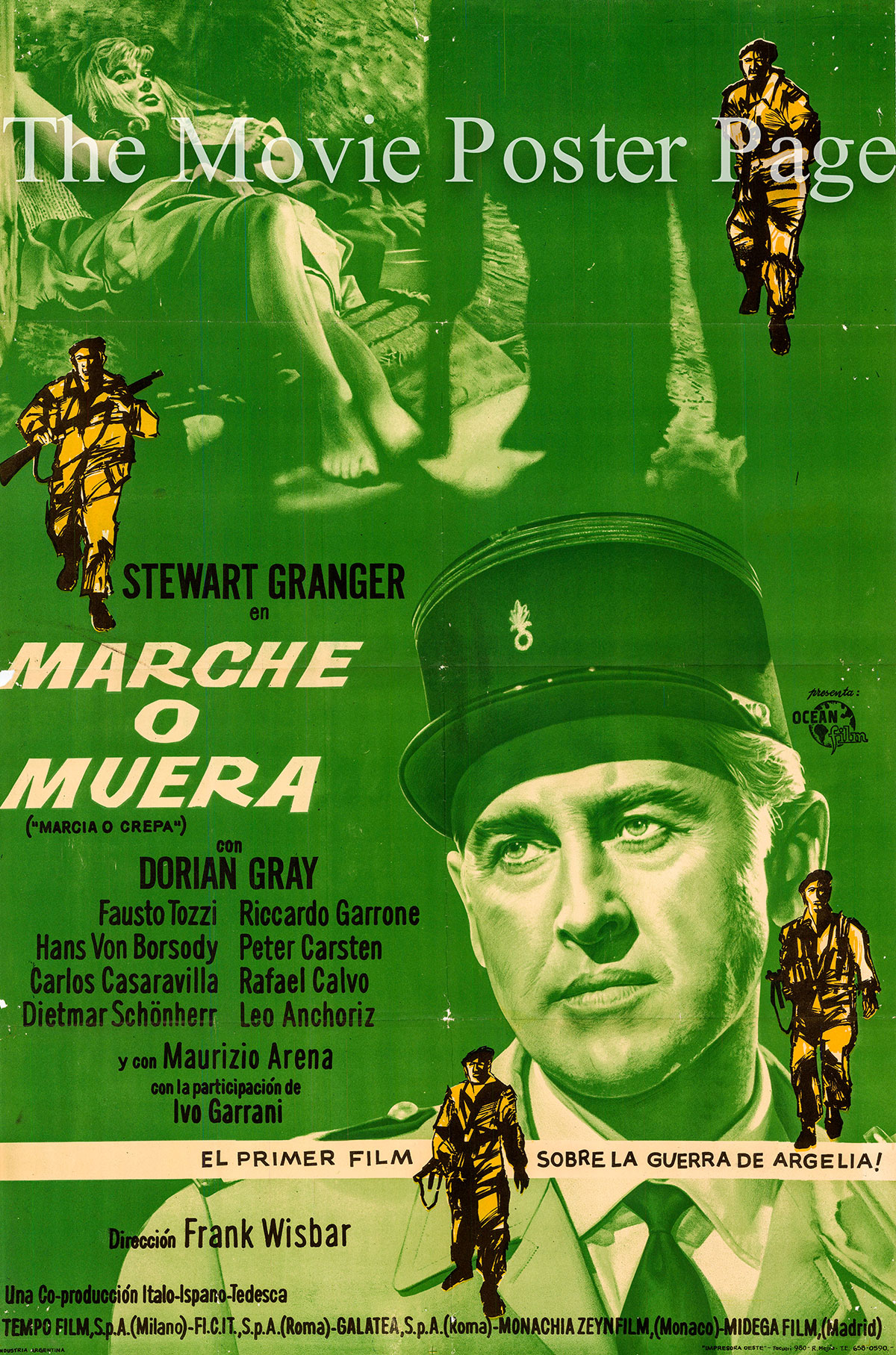 Pictured is an Argentine one-sheet poster for the 1962 Frank Wiasbar film Commando starring Stewart Granger.