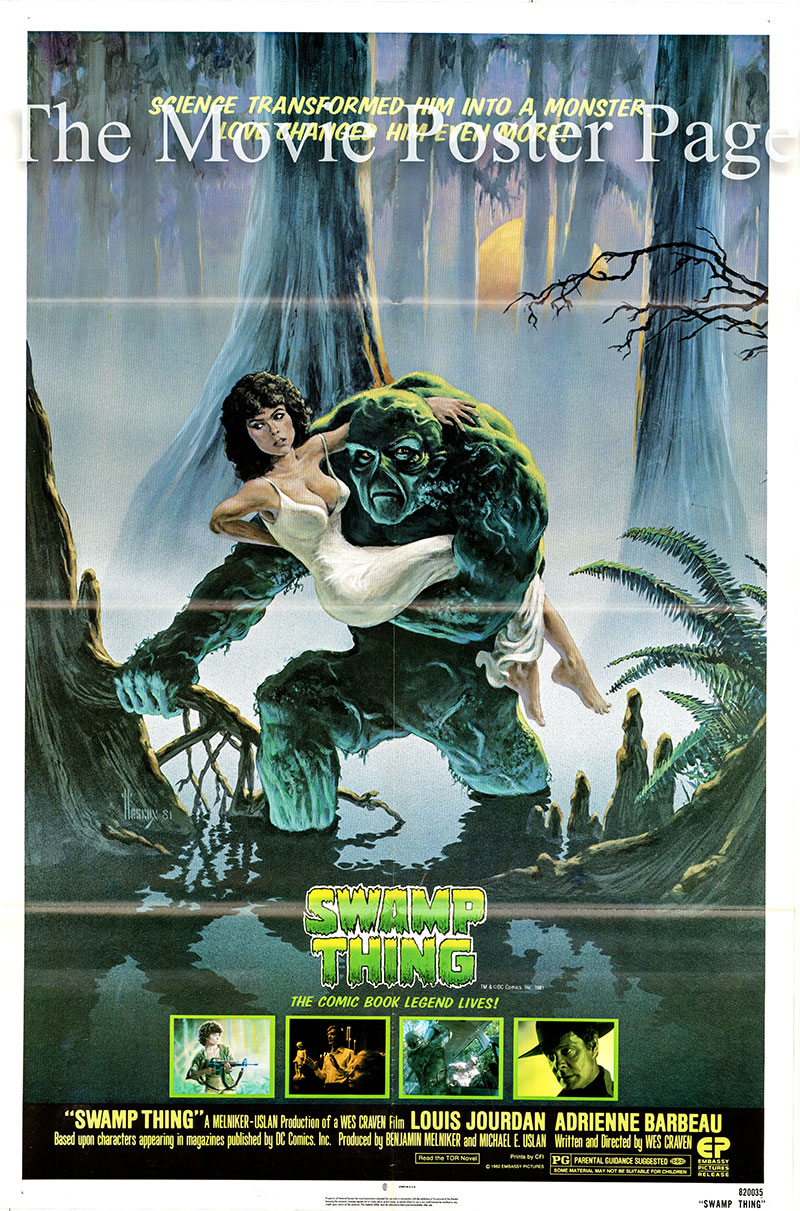 Pictured is a US one-sheet poster for the 1982 Wes Craven film Swamp Thing starring Louis Jordan as Arcane.