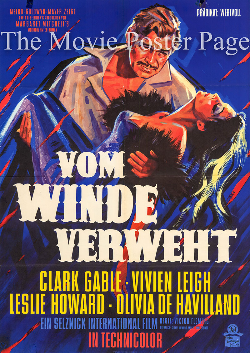 Pictured is a Danish one-sheet poster for a 1960s rerelease of the 1939 Victor Fleming film Gone with the Wind starring Clark Gable.