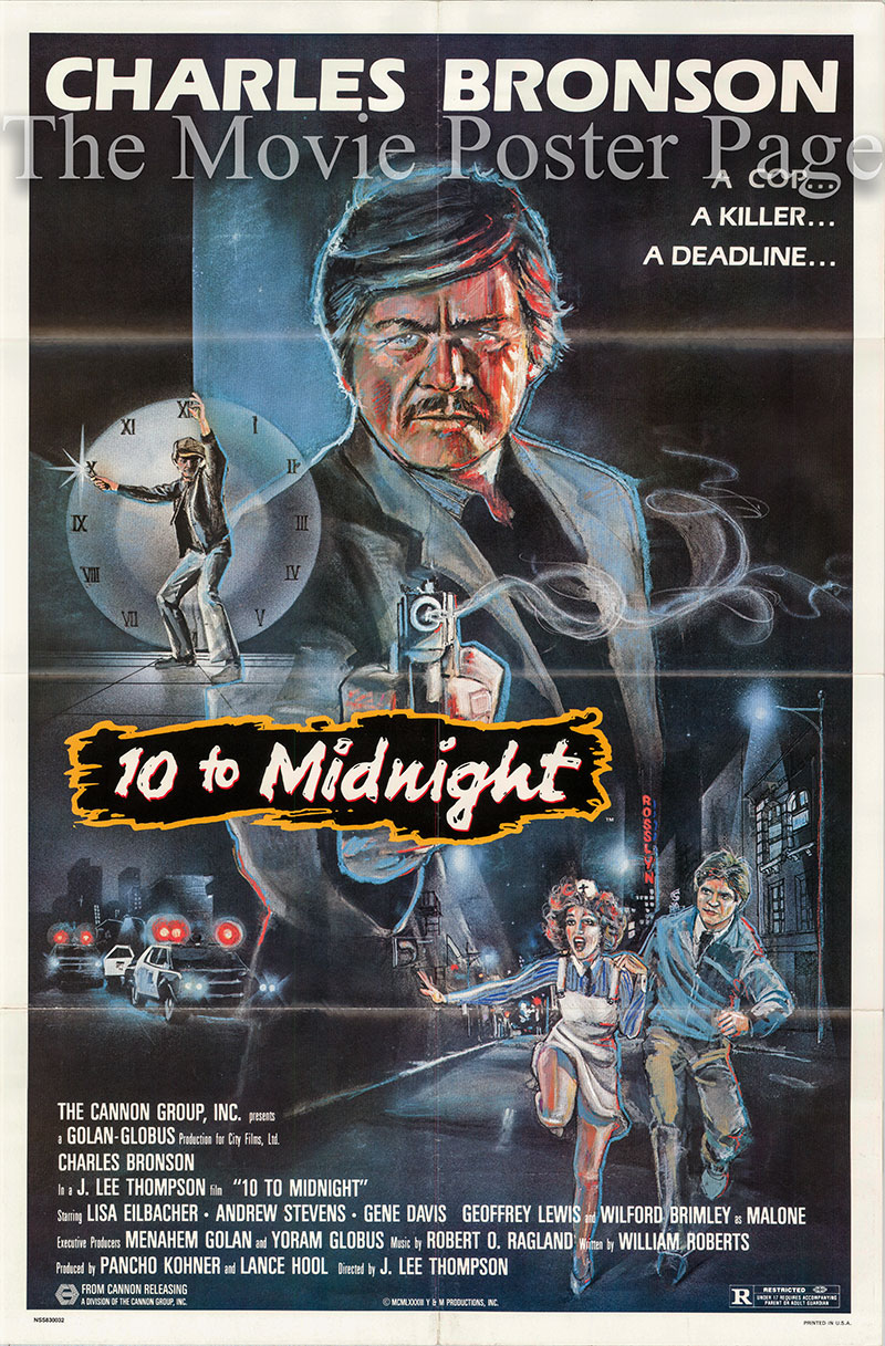 Pictured is a US one-sheet poster for the 1983 J. Lee Thompson Ten to Midnight starring Charles Bronson as Leo Kessler.