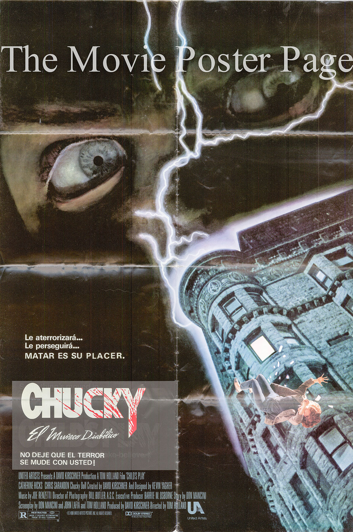 Pictured is a Spanish one-sheet poster for the 1988 Tom Holland Film Chucky starring Catherine Hicks.