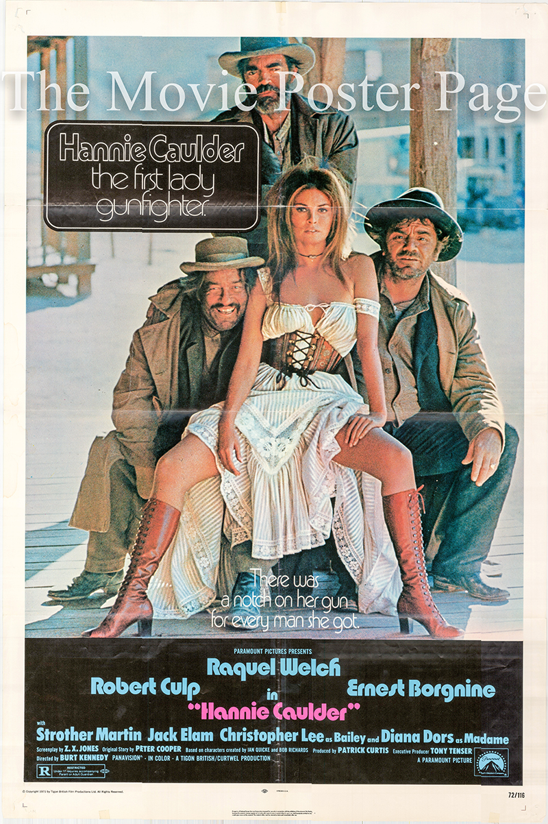 Pictured is a US one-sheet poster for the 1972 Burt Kennedy film Hannie Caulder starring Raquel Welch as Hannie Caulder.