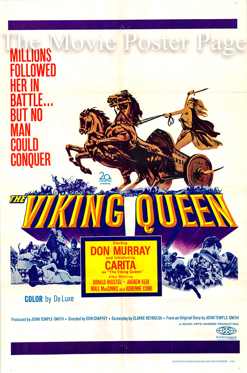 Pictured is a US one-sheet poster for the 1967 Don Chaffey film The Viking Queen starring Don Murray as Justinian.