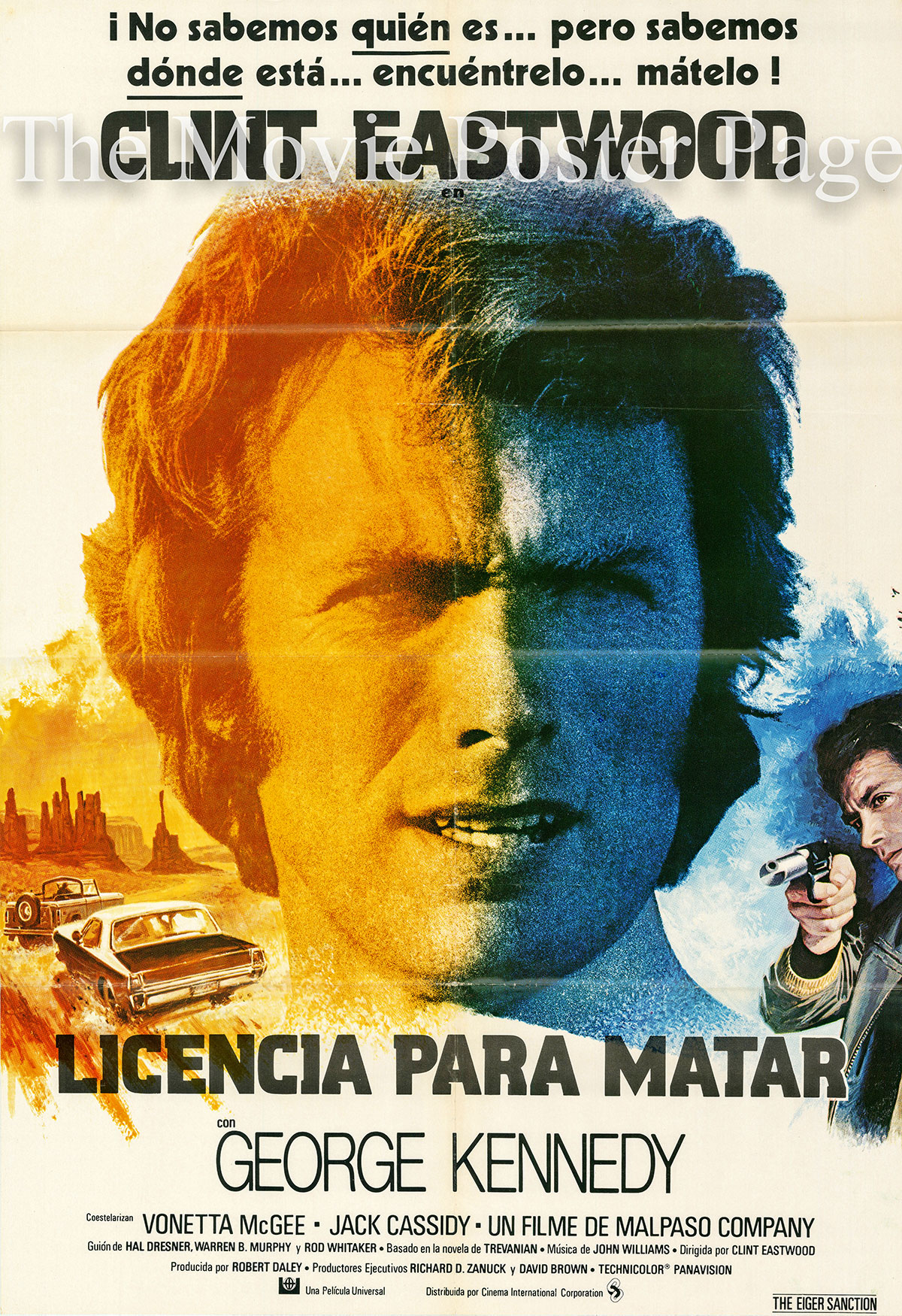 Pictured is a Spanish one-sheet poster designed by Jean Mascii to promote the 1975 Clint Eastwood film The Eiger Sanction starring Clint Eastwood as Jonathan Hemlock.