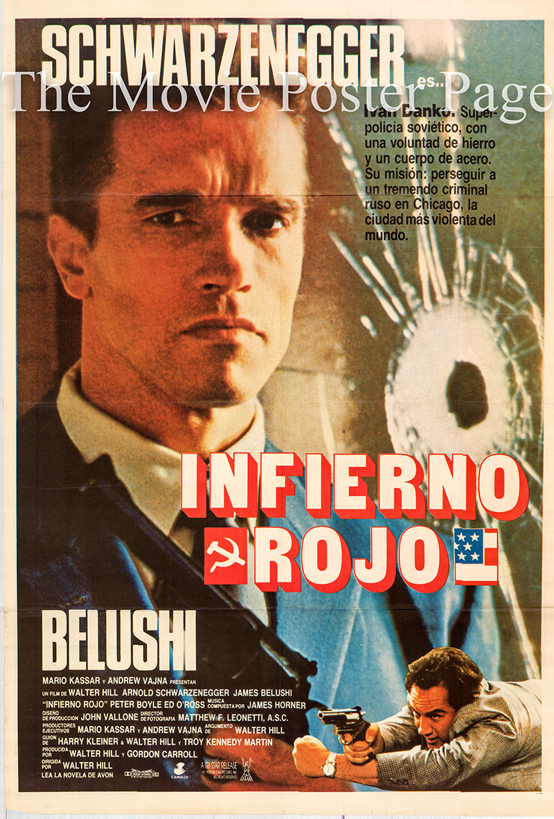Pictured is a Spanish one-sheet poster for the 1988 Walter Hill film Red Heat starring Arnold Schwarzenegger as Ivan Danko.
