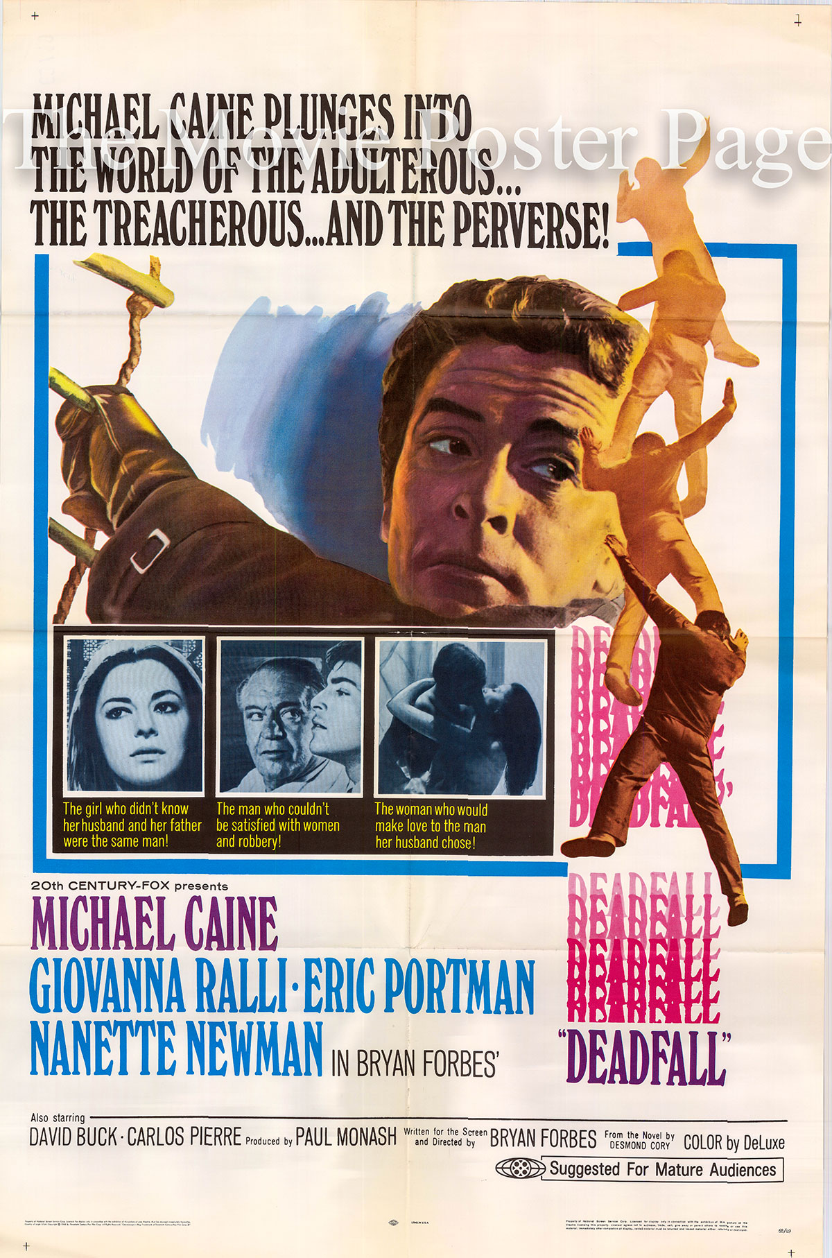 Pictured is a US one-sheet poster for the 1968 Bryan Forbes film Deadfall starring Michael Caine.