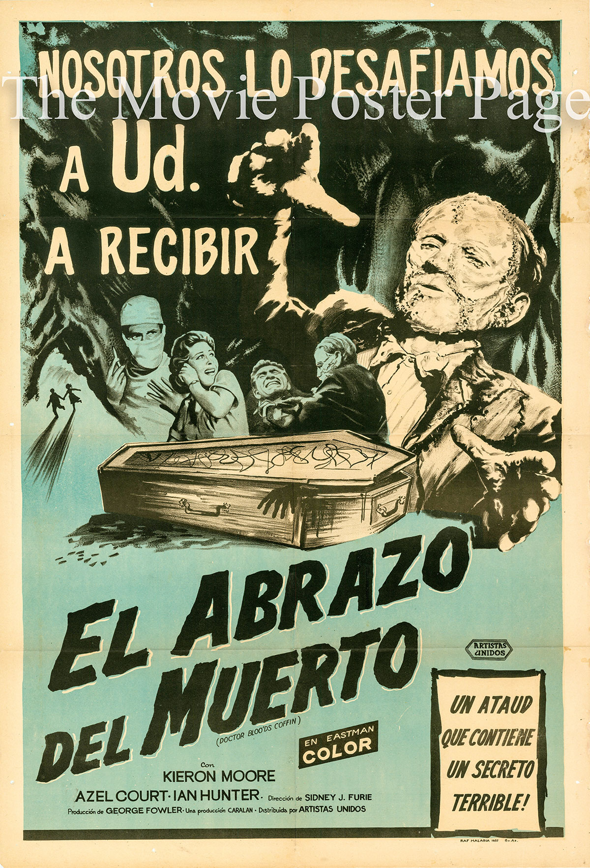 Pictured is an Argentine one-sheet poster for the 1961 Sidney J. Furie film Dr. Blood's Coffin starrint Kieron Moore.