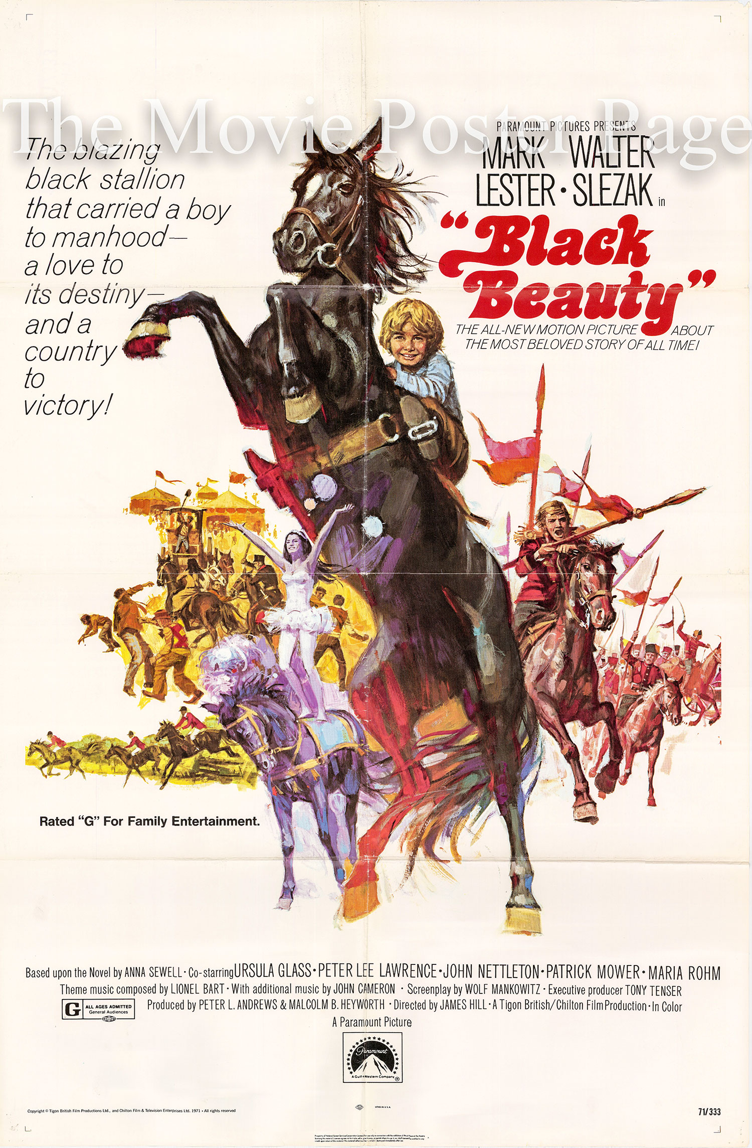 Pictured is a US one-sheet promotional poster for the 1971 James Hill film Black Beauty starring Mark Lester.