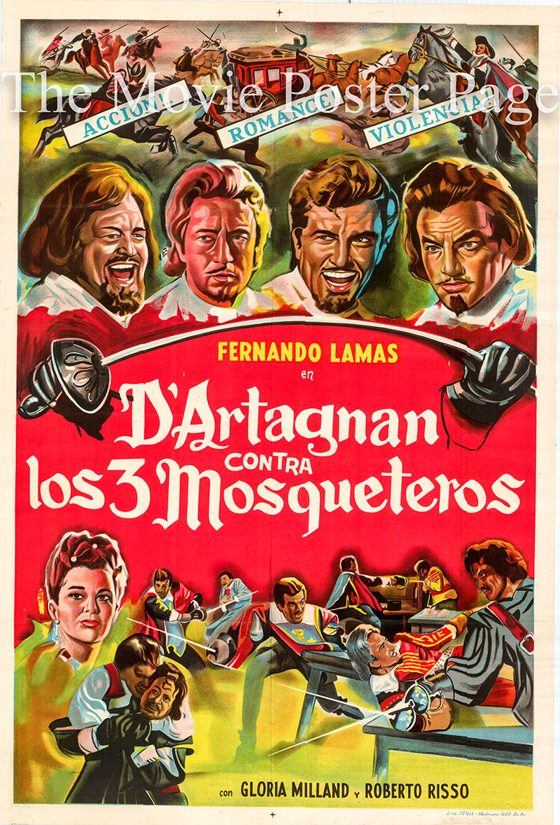 Pictured is an Argentine one-sheet poster for the 1963 Fulvio Tului film Revenge of the Musketeers starring Fernando Lamas as D'Artagnan.