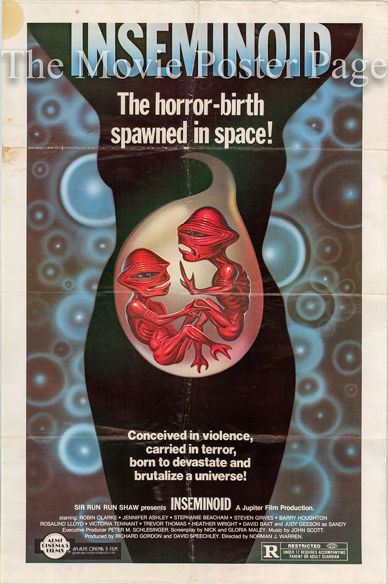 Pictured is a US one-sheet promotional poster for the 1981 Norman J. Warren film Inseminoid starring Judy Geeson as Sandy.