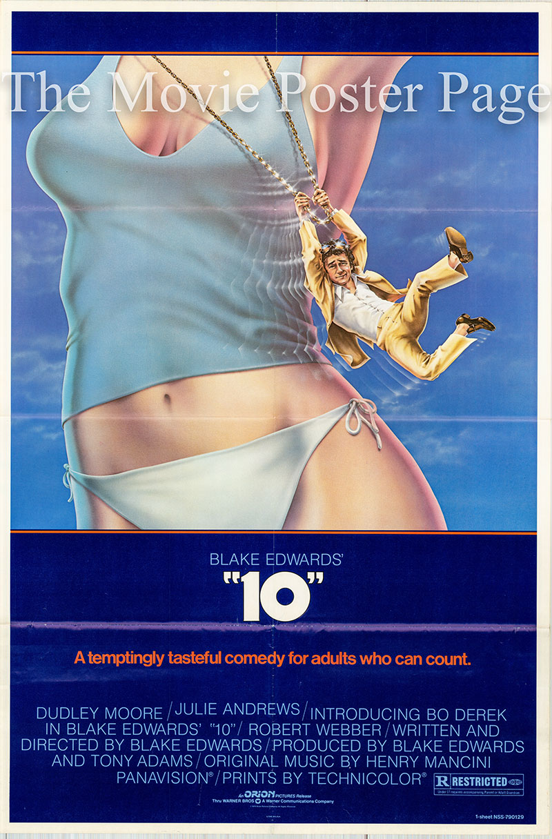 Pictured is a US one-sheet poster for the 1979 Blake Edwards film !0 starring Bo Derek as Jenny Hanley.