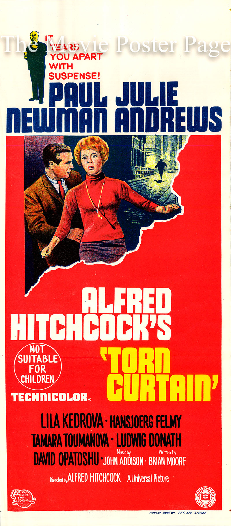 poctured is an Australian day bill for the 1966 Alfred Hitchcock film Torn Curtain starring Paul Newman as Professor Michael Armstrong.