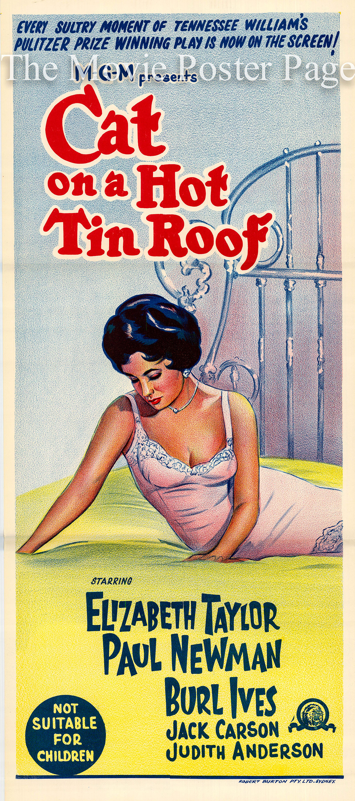 Pictured is an Australian daybill poster for the 1958 Richard Brooks film Cat on a Hot Tin Roof starring Elizabeth Taylor.