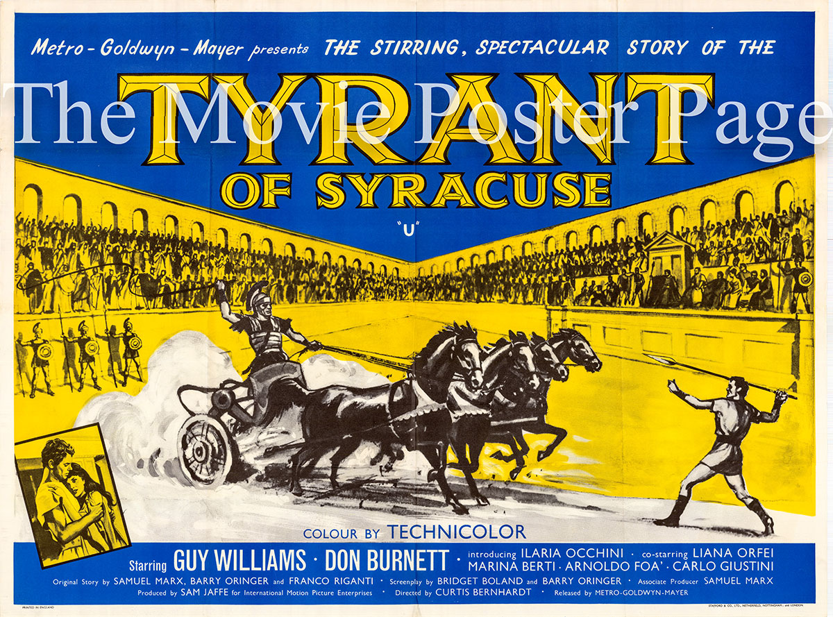 Pictured is a stone lithograph British quad poster for the 1962 Curtis Bernhardt film <i>Damon and Pythias</i> starring Guy Williams and Don Burnett.