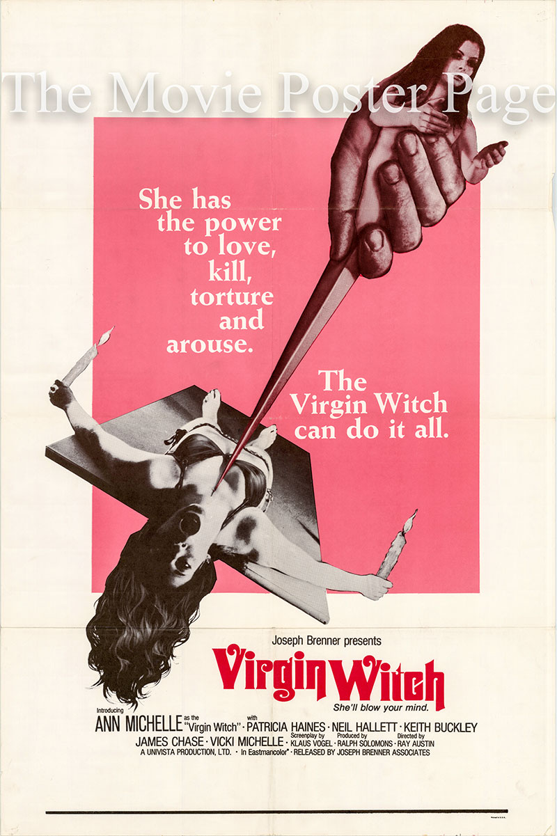 Pictured is a US one-sheet for the 1972 Ray Austin film Virgin Witch starring Ann Michelle as Christine.