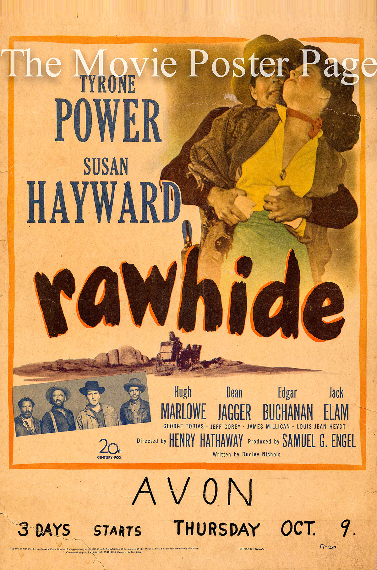 pictured is a US window card for the 1951 Henry Hathaway film Rawhide starring Susan Hayward and Tyrone Power.