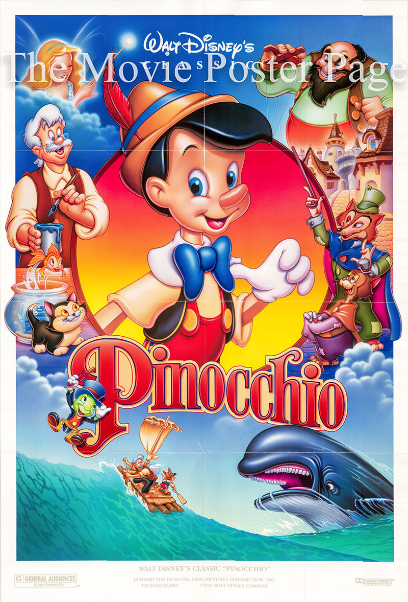 Pictured is a US promotional poster for a 1992 rerelease of the 1940 Hamilton Luske and Ben Sharpsteen film Pinocchio starring Dickie Jones as the voice of Pinocchio.