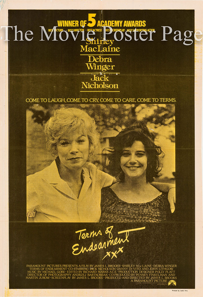 Pictured is an Indian academy awards one-sheet poster for the 1983 James L. Brooks film Terms of Endearment starring Shirley MacLaine as Aurora Greenway.