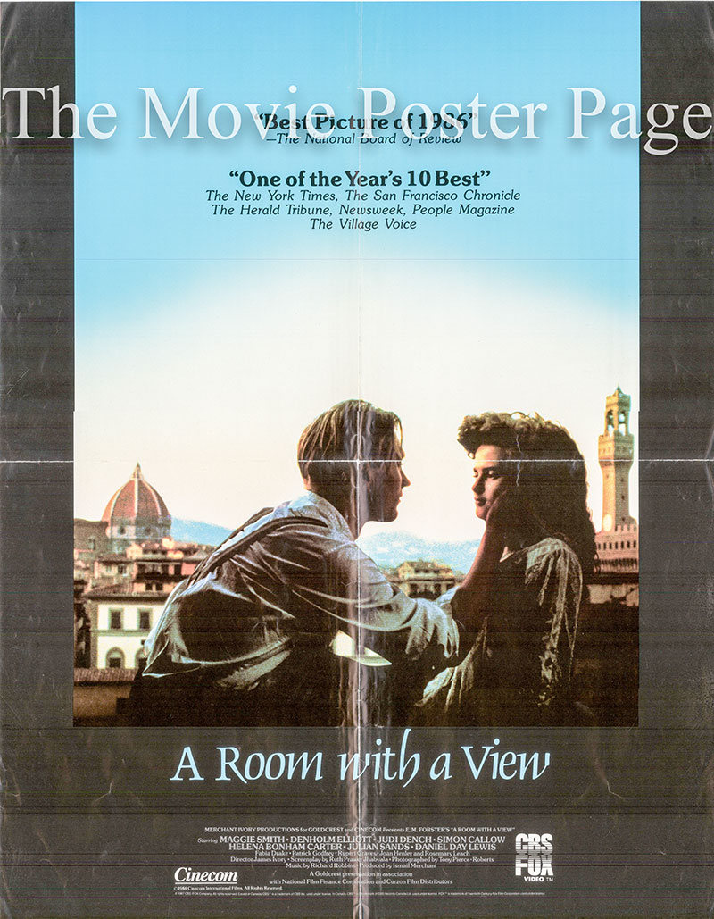 Pictured is a US video poster for the 1985 James Ivory film Room with a View starring Maggie Smith as Charlotte Bartlett.