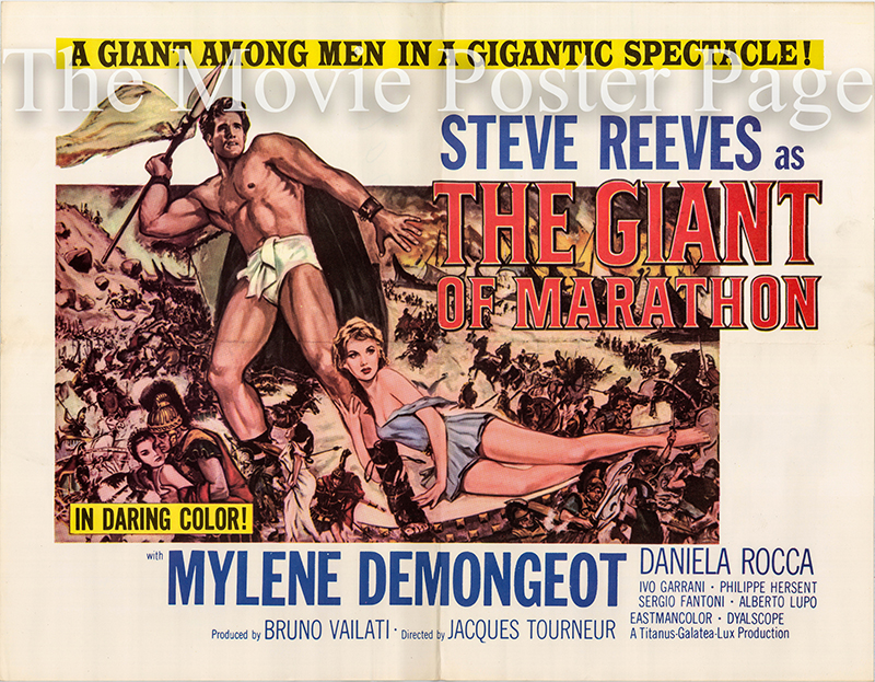Pictured is a reprint of a US half-sheet poster for the 1960 Jacques Tourneur film The Giant of Marathon starring Steve Reeves.